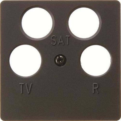 Berker 14841606 Zentralplatte für Antennendose 4Loch Anthrazit Matt/Samt