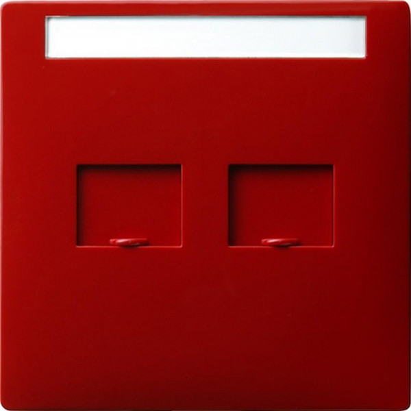 GIRA 066343 Abdeckung Modular-Jack 2-Fach mit Verschlussschiebern und Beschriftungsfeld Rot
