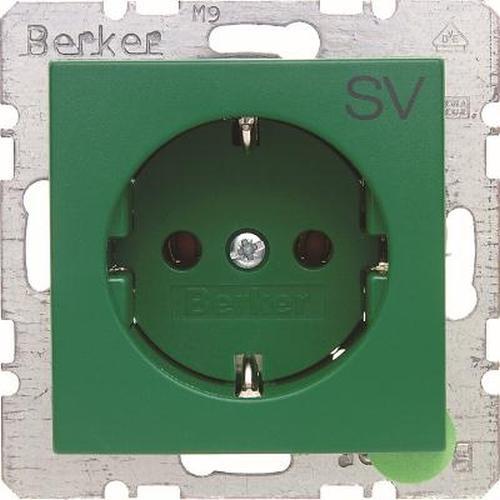 Berker 47431903 Steckdose SCHUKO mit Aufdruck S.1/B.3/B.7 Grün, Matt