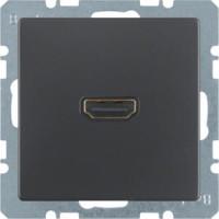Berker 3315436086 High Definition Steckdose mit 90°-Steckanschluss Q.1/Q.3 Anthrazit, Samt