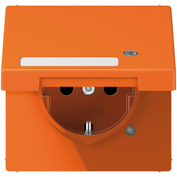 JUNG LS1520BFKLKOO Steckdosen-Einsatz mit Funktionsanzeige und Klappdeckel Orange