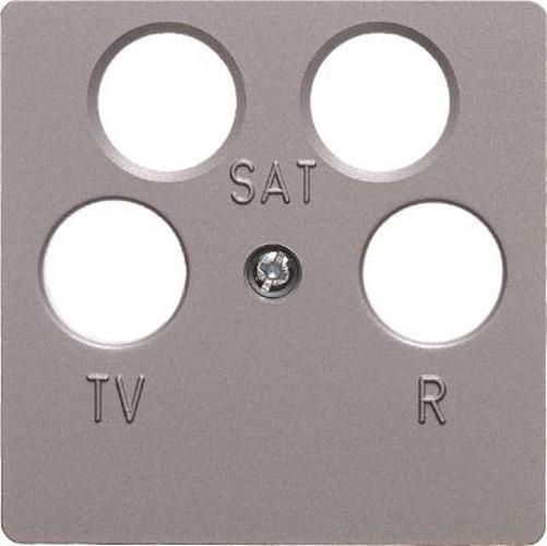 Berker 14841404 Zentralplatte für Antennen-Steckdose 4Loch Zentralplattensystem Alu, Matt