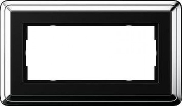 GIRA 1002642 Rahmen 2-Fach ohne Mittelsteg ClassicX Chrom-Schwarz