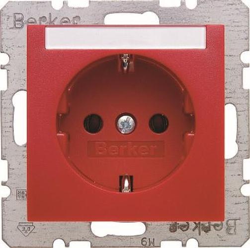 Berker 47501902 Steckdose SCHUKO mit Beschriftungsfeld S.1/B.3/B.7 Rot,Matt