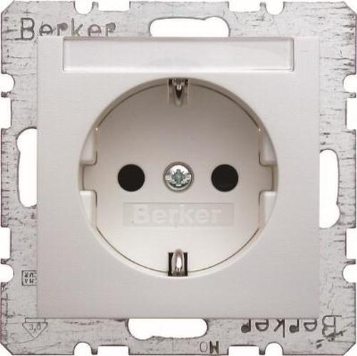 Berker 47491909 Steckdose SCHUKO mit Beschriftungsfeld u. erh.BS S.1/B.3/B.7 Polarweiß, Matt