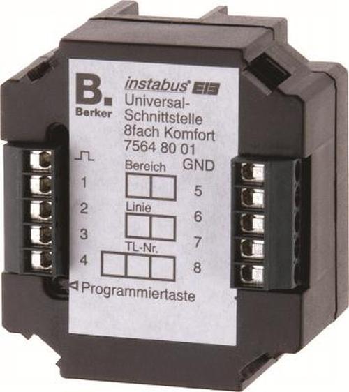 Berker 75648001 Universalschnittstelle 8Fach Komfort Up KNX Schwarz