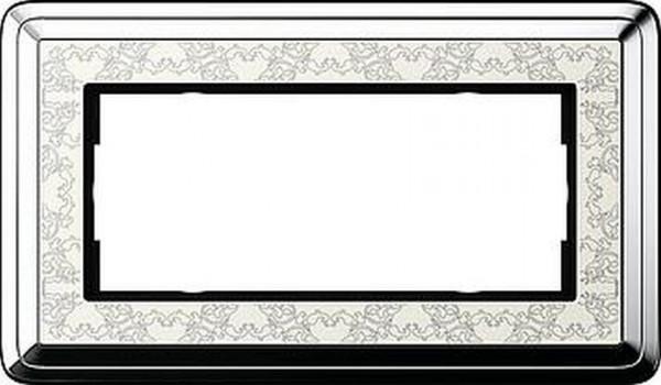 GIRA 1002683 Rahmen 2-Fach ohne Mittelsteg ClassicX Art Chrom-Cremeweiß