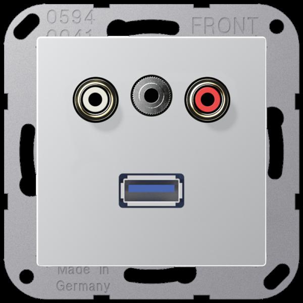 JUNG MAA1092AL Cinch Audio-Miniklinke 3,5 mm-USB2.0 Aluminium