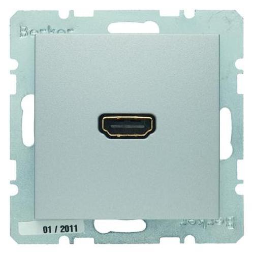 Berker 3315431404 High Definition Steckdose mit 90°-Steckanschluss B.7 Alu, Matt