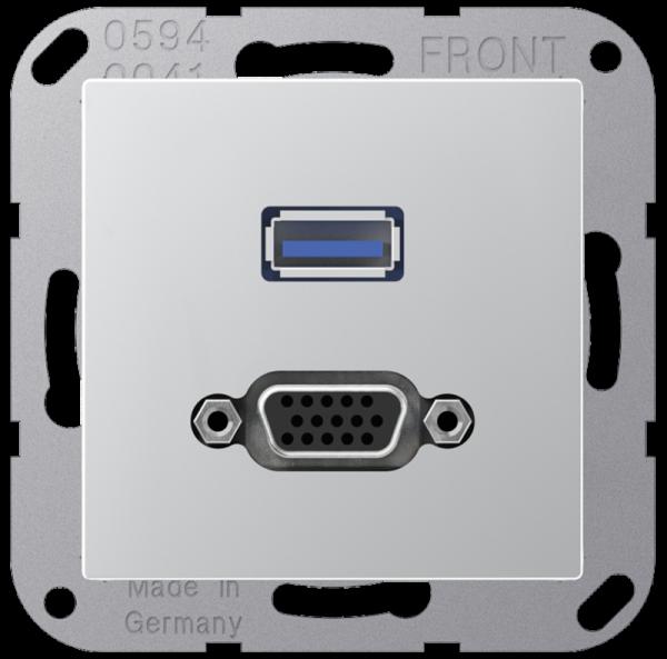 JUNG MAA1183AL USB2.0/VGA Aluminium