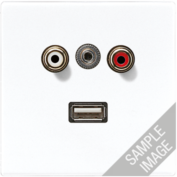 JUNG MALS1092 Cinch Audio-Miniklinke 3,5 mm-USB2.0 Cremeweiß