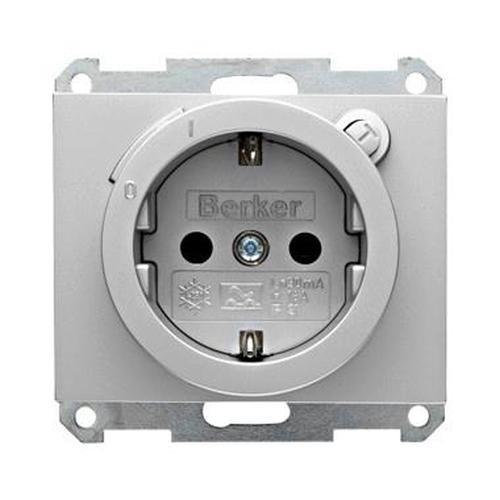 Berker 47087003 Steckdose SCHUKO mit FI-Schutzschalter mit erhöhtem Berührungsschutz K.5 Alu