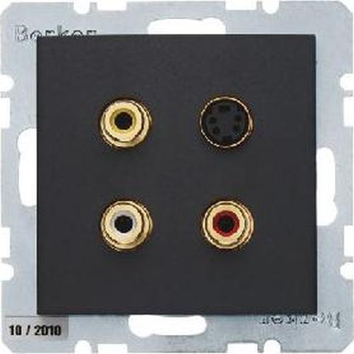 Berker 3315321606 3 x Cinch/S-Video Steckdose B.3/B.7 Anthrazit, Matt