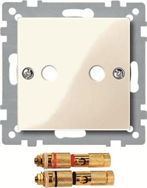 Merten 468844 Zentralplatte mit High-End Lautsprecher-Steckverbinder Weiß-Glänzend