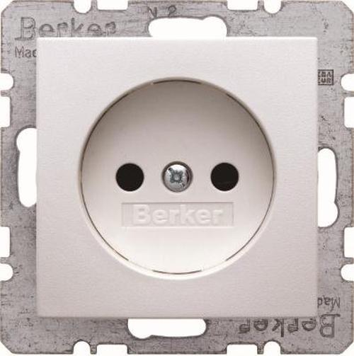 Berker 6167331909 Steckdose ohne Schutzkontakt mit erh.BS S.1/B.3/B.7 Polarweiß, Matt