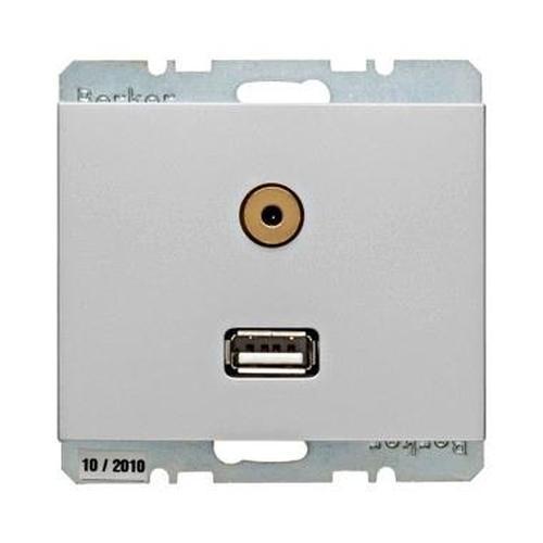 Berker 3315397003 USB/3,5 mm Audio Steckdose K.5 Alu