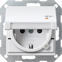 GIRA 276303 Steckdosen-Einsatz mit Kontrolllicht,EBS und Klappdeckel Reinweiß-Glänzend