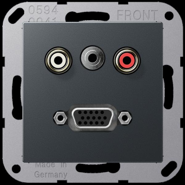 JUNG MAA1072ANM Cinch Audio-Miniklinke 3,5 mm-VGA Anthrazit-Matt