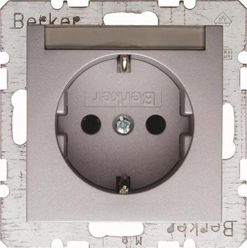 Berker 47501404 Steckdose SCHUKO mit Beschriftungsfeld B.7 Alu, Matt