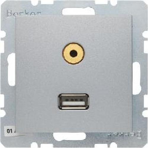 Berker 3315391404 USB/3,5 mm Audio Steckdose B.7 Alu, Matt