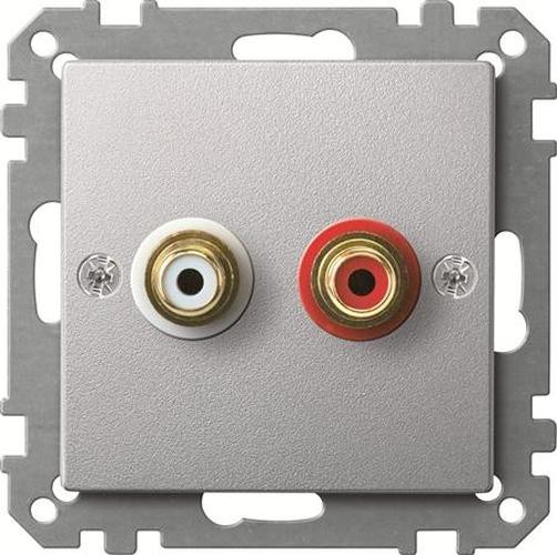 Merten MEG4350-0460 Steckdose für Audio Anschluss Aluminium