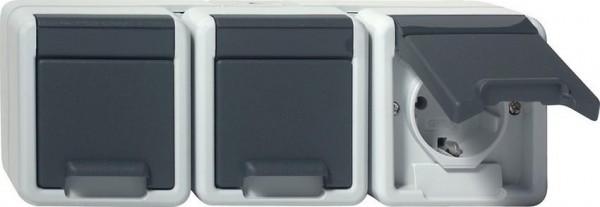GIRA 078930 Dreifachsteckdosen-Einsatz mit Klappdeckel Waagerecht Grau