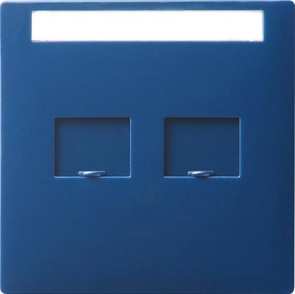 GIRA 066346 Abdeckung Modular-Jack 2-Fach mit Verschlussschiebern und Beschriftungsfeld Blau