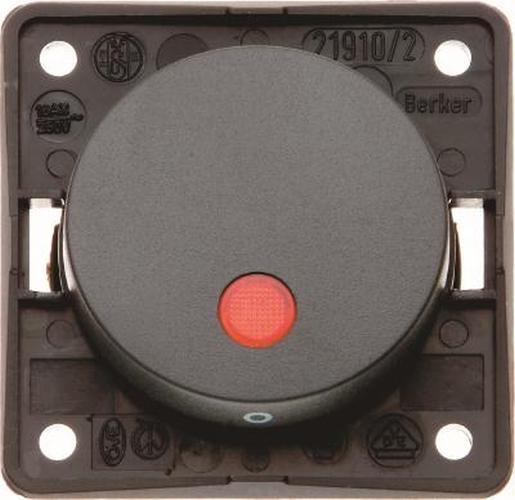 """Berker 937522510 Kontroll-Aussch. 2-polig m. Aufdruck """"0"""", roter Linse, Flow/Pure, Schw. Gl."""