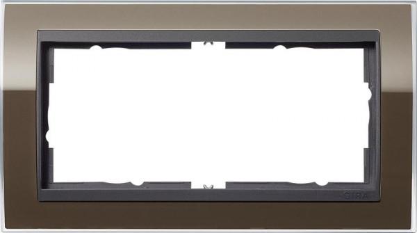 GIRA 1002768 Rahmen 2-Fach E2 ohne Mittelsteg Event-Klar Braun/ Anthrazit