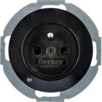 Berker 6765102045 Steckd. m. Schutzko.stift u. LED-Orientierungsl.,erh. Ber.-Schutz R.1/R.3 Sw,Gl.