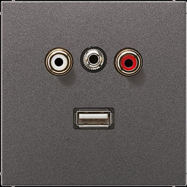 JUNG MAAL1092AN Cinch Audio-Miniklinke 3,5 mm-USB2.0 Anthrazit