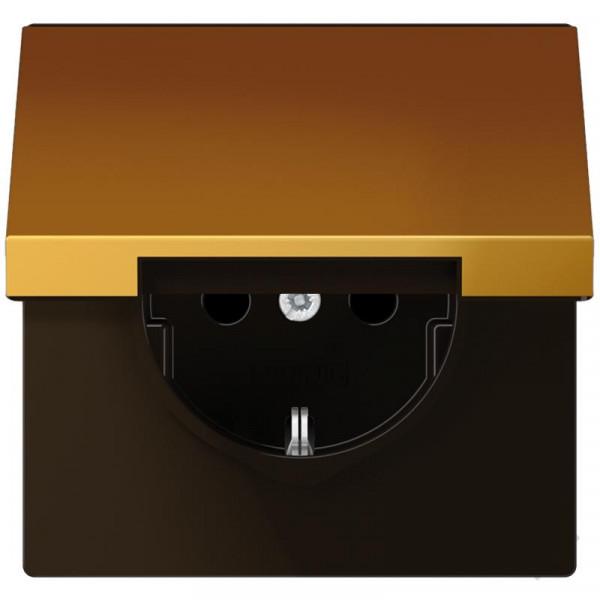 JUNG GO1520KIKL Steckdosen-Einsatz mit Klappdeckel und EBS Goldfarben