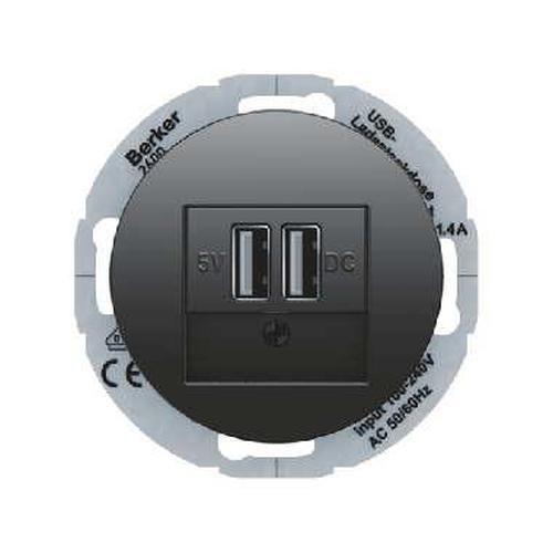 Berker 26002045 USB Ladesteckdose 230 V mit Zentralstück Serie R.Classic Schwarz, Glänzend