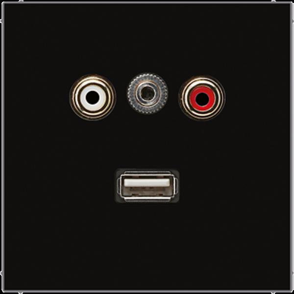 JUNG MALS1092SW Cinch Audio-Miniklinke 3,5 mm-USB2.0 Schwarz