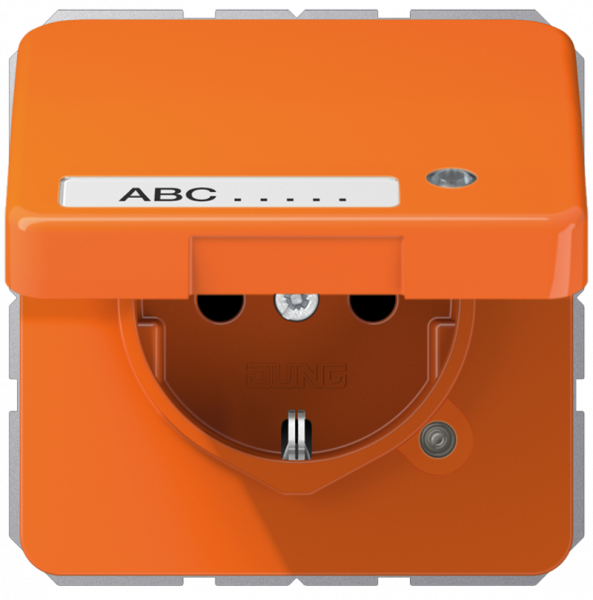 JUNG CD1520BFKLKOO Steckdosen-Einsatz mit Klappdeckel, Schriftfeld und Funktionanzeige Orange