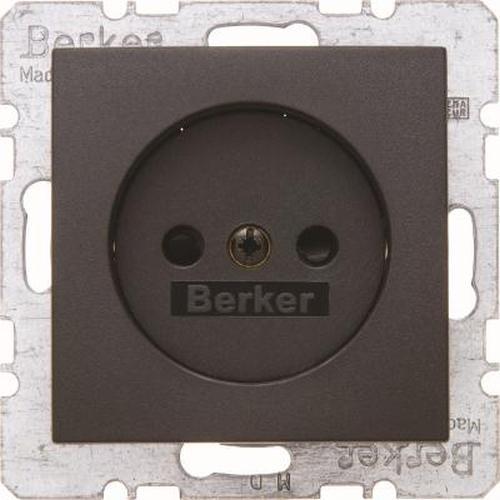 Berker 6167331606 Steckdose ohne Schutzkontakt m. erh. Berührungsschutz B.3/B.7 Anthrazit, Matt