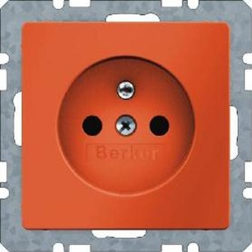 Berker 6768766014 Steckdose m. Schutzkontaktstift u. erhöhtem Berührungsschutz Q.1/Q.3 Orange Samt