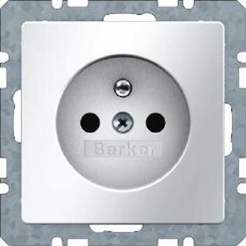 Berker 6768766089 Steckdose mit Schutzkontaktstift u. erh.BS Q.1/Q.3 Polarweiß, Samt