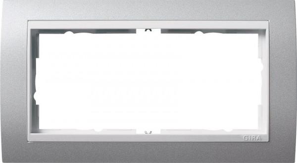 GIRA 1002326 Rahmen 2-Fach E2 ohne Mittelsteg Event Farbe-Alu /Reinweiß-Glänzend