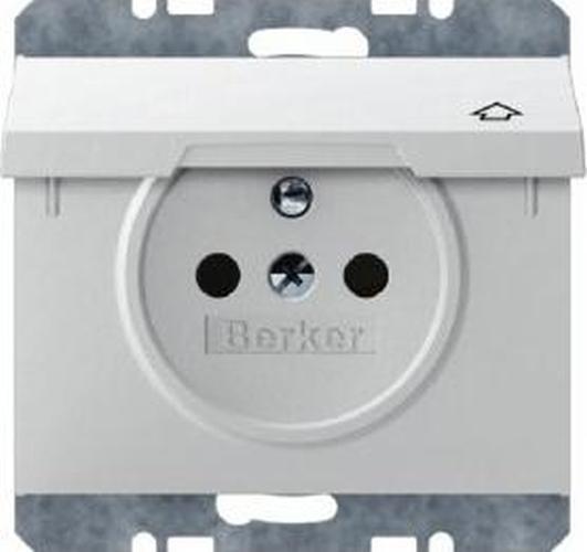 Berker 6768777109 Steckdose mit Schutzkontaktstift und Klappdeckel K.1 Polarweiß, Glänzend