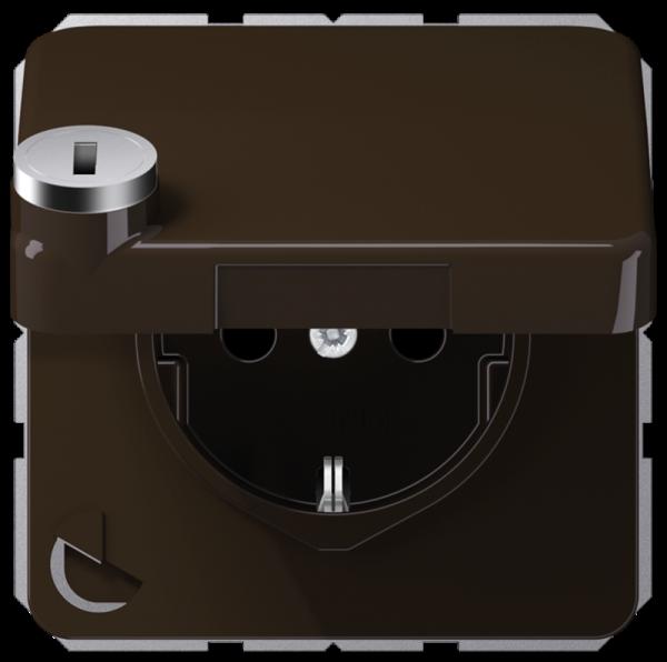 JUNG CD1520BFKLSLBR Steckdosen-Einsatz mit Sicherheitsschloss Braun