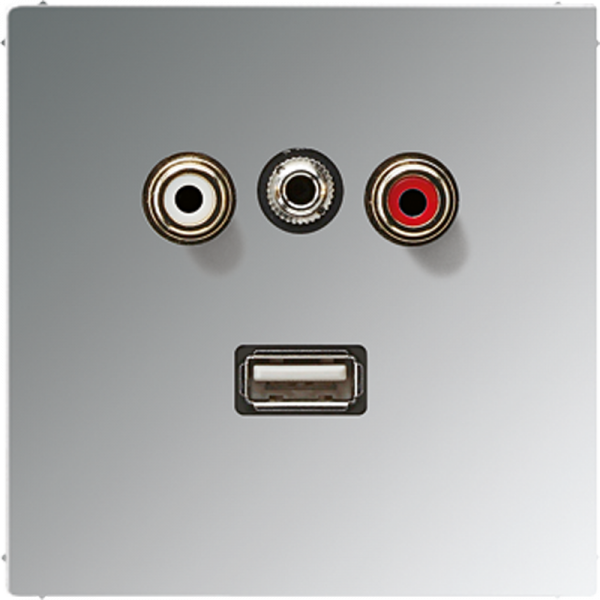 JUNG MAGCR1092 Cinch Audio-Miniklinke 3,5 mm-USB2.0 Glanz-Chrom