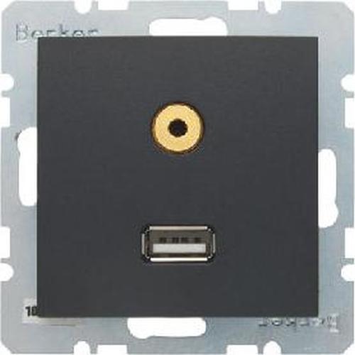 Berker 3315391606 USB/3,5 mm Audio Steckdose B.3/B.7 Anthrazit, Matt