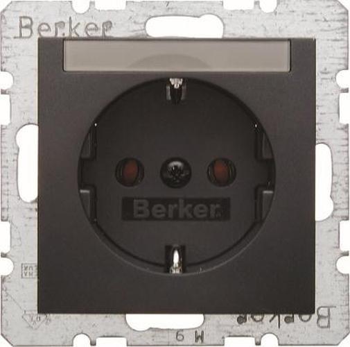 Berker 47501606 Steckdose SCHUKO mit Beschriftungsfeld B.3/B.7 Anthrazit, Matt