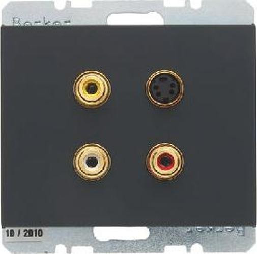 Berker 3315327006 3 x Cinch/S-Video Steckdose K.1 Anthrazit, Matt