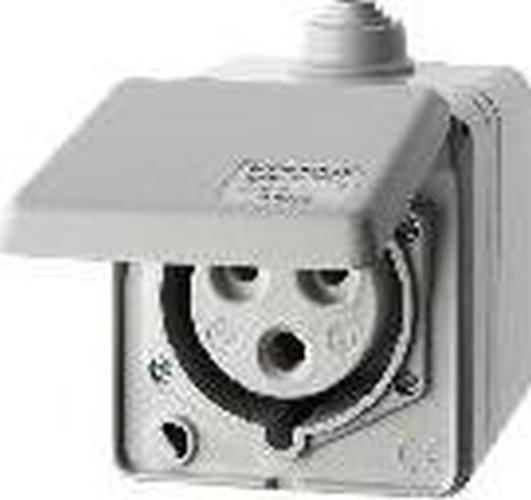 Berker 578401 CEE Steckdose 3-polig Ap 32 A mit Klappdeckel Verbindungssysteme Lichtgrau