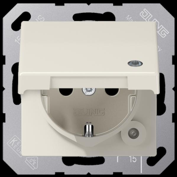 JUNG ABAS1520KLKO Steckdosen-Einstaz mit Klappdeckel und Funktionsanzeige Cremeweiß