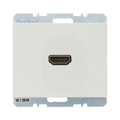Berker 3315437009 High Definition Steckdose mit 90°-Steckanschluss K.1 Polarweiß, Glänzend
