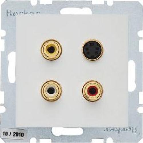 Berker 3315328989 3 x Cinch/S-Video Steckdose S.1/B.3/B.7 Polarweiß, Glänzend