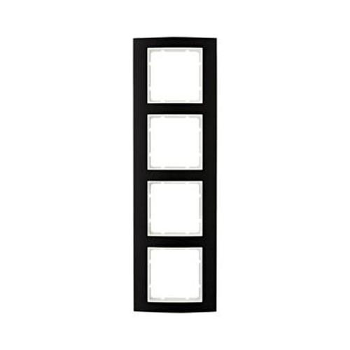 Berker 10143025 Rahmen 4Fach B.3 Alu,Schwarz/Polarweiß
